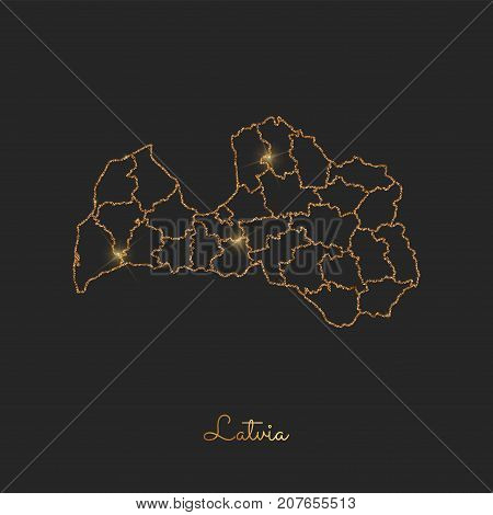 Latvia Region Map: Golden Glitter Outline With Sparkling Stars On Dark Background. Detailed Map Of L
