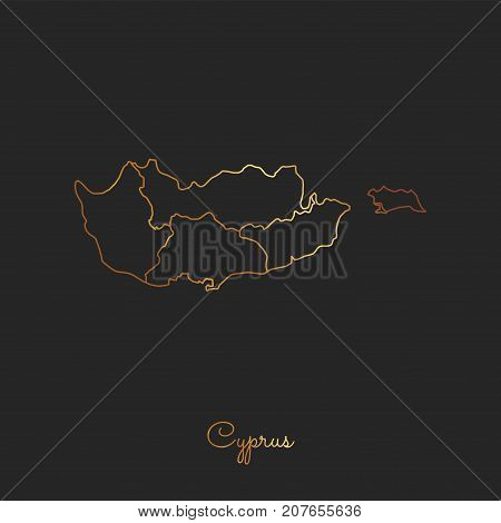 Cyprus Region Map: Golden Gradient Outline On Dark Background. Detailed Map Of Cyprus Regions. Vecto