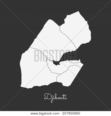 Djibouti Region Map: White Outline On Grey Background. Detailed Map Of Djibouti Regions. Vector Illu