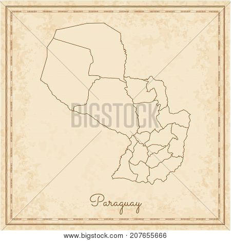 Paraguay Region Map: Stilyzed Old Pirate Parchment Imitation. Detailed Map Of Paraguay Regions. Vect