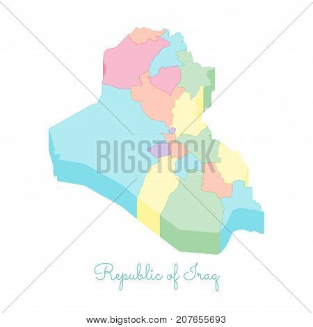 Republic Of Iraq Region Map: Colorful Isometric Top View. Detailed Map Of Republic Of Iraq Regions.