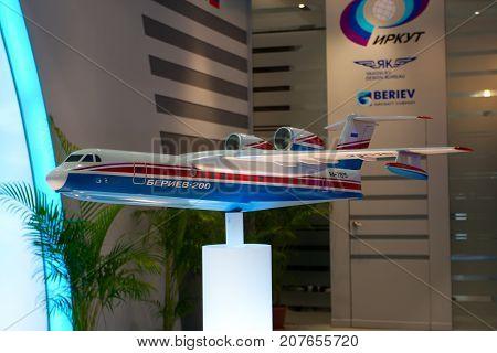 Changi, Singapore - Feb 6,2010 : A Beriev Be-200 aircraft model show in Singapore Air Show 2010