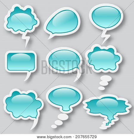 Set of different thought cloud nine blue glass objects on a white background for infographics