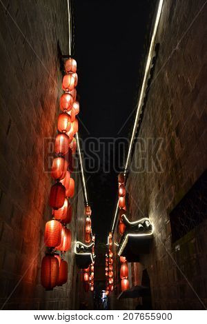 The Lanterns Hanging In The Alley Of The Scenic Jinli Ancient Street Of Chengdu