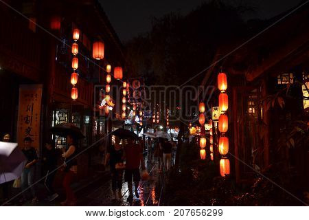 Tourists Visiting Shops And Stores Around The Scenic Jinli Ancient Street Of Chengdu