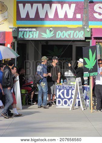 Los Angeles California USA, 12 February 2011: People in front of Marijuana Doctor on Venice Beach