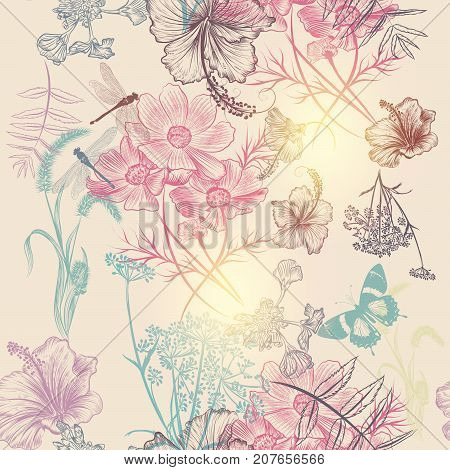 Floral vector background with engraved flowers hibiscus, dragonfly. Nature illustration
