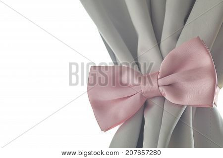 Pink bow tie beautiful modern grey curtains in living room