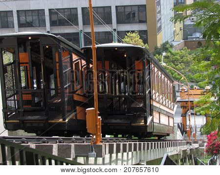 Funicular railroad at Angels Flight in Bunker Hill district of downtown Los Angeles California