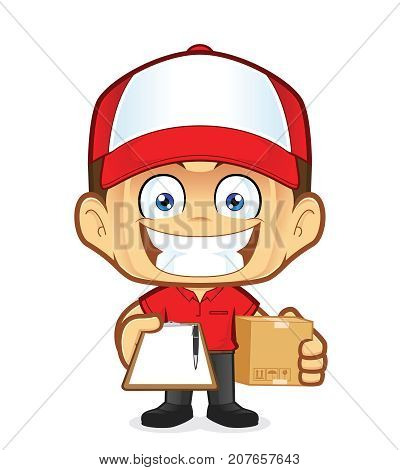 Clipart picture of a delivery man courier cartoon character holding a box and clipboard