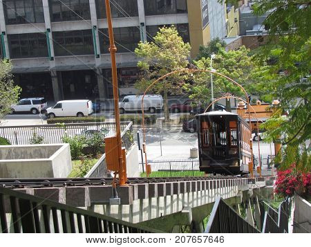Los Angeles California USA, 18 May 2011: Funicular railroad at Angels Flight in Bunker Hill district of downtown