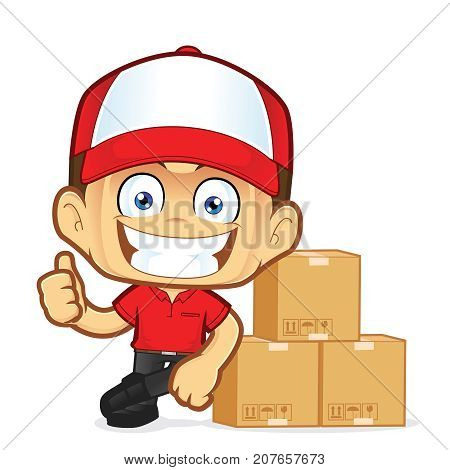 Clipart picture of a delivery man courier cartoon character leaning on boxs