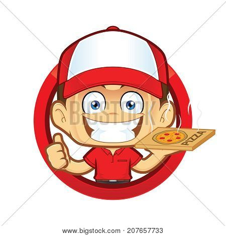Clipart picture of a pizza delivery man courier cartoon character giving thumbs up in circle shape