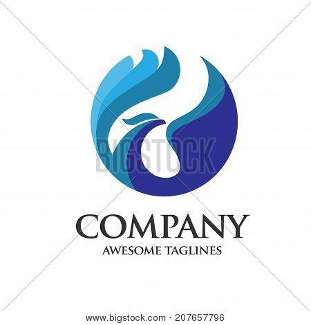 phoenix Abstract blue bird concept logo vector, best corporate phoenix bird logo vector