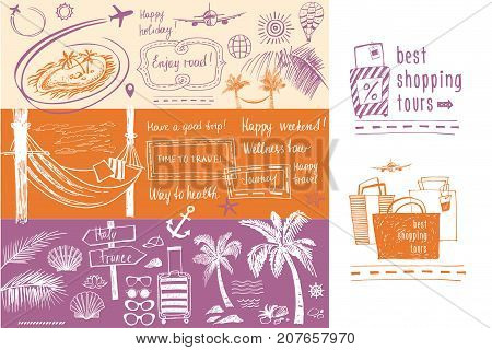 Set Of Design Elements On The Subject Of Travel And Tourism. Fre