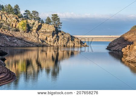 quiet afternoon on a mountain lake - Horsetooth Reservoir near Fort Collins, northern Colorado