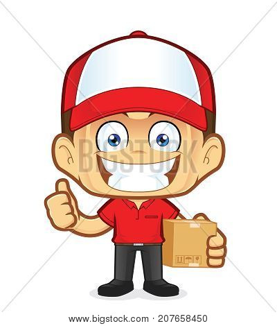 Clipart picture of a delivery man courier cartoon character holding a box and giving thumbs up
