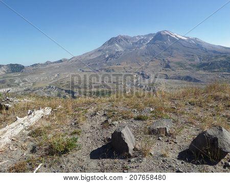 View of Mount St. Helens 1980 blast area from Johnson Ridge.