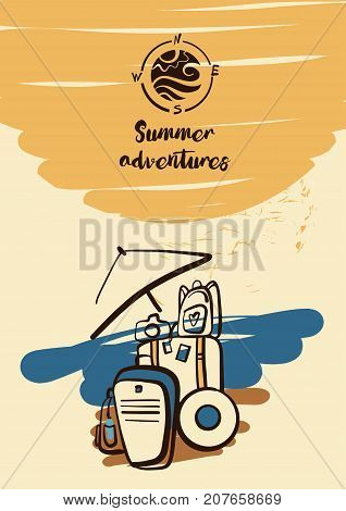 Freehand Drawn Illustration With Black Logo For Travel Business Tour Agency. Tourist Baggage On The