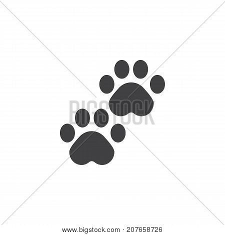 Pawprints icon vector, filled flat sign, solid pictogram isolated on white. Paw symbol, logo illustration.