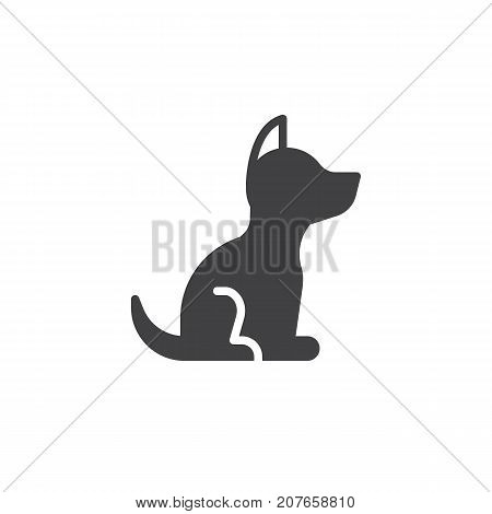 Dog icon vector, filled flat sign, solid pictogram isolated on white. Symbol, logo illustration.