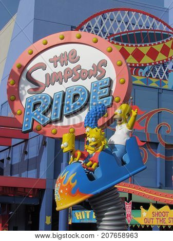 Universal City Hollywood LA California USA, 30 June 2011: Krustyland in the Simpsons ride area in Universal Studios Hollywood
