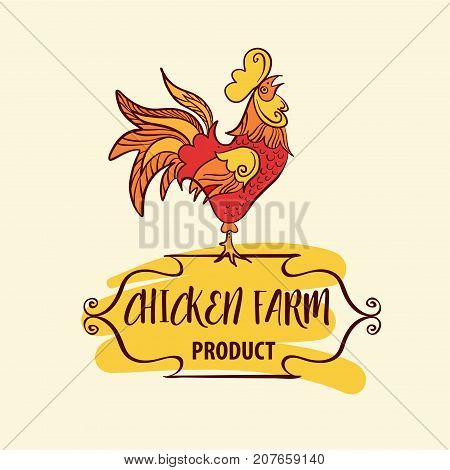 Freehand Drawn Vector Logotype With Hen, Cock, Chicken. Logo For