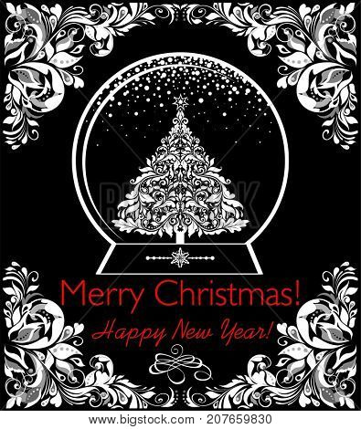 Black and white greeting vintage card with globe, xmas tree and floral adornment