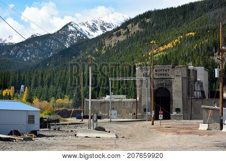 Moffat Tunnel Mountain Railroad Tunnel with Snow Capped Peaks