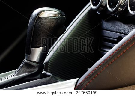Close up luxury car interior -  shift lever