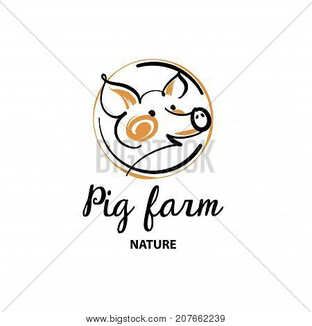 Sketch image illustration. Image of hand-drawn face head pig. Template poster banner logo for local farm business. Text Pig farm nature.