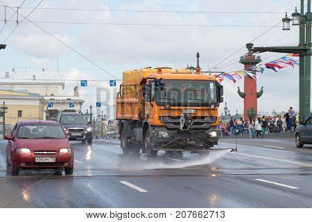 SAINT PETERSBURG, RUSSIA - JULY 30, 2017: Utility truck