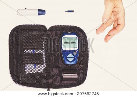 Close Up Results Of Mobile Diabetes Testing For Sugar Level.