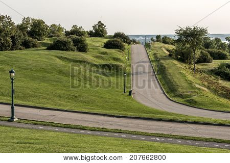 Green plaines d'Abraham road and gras in morning during summer in Quebec City Canada