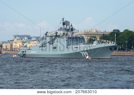 SAINT-PETERSBURG, RUSSIA - JULY 30, 2017: New frigate