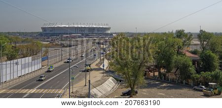 Rostov-on-DonRussia -September 302017: Construction of a new stadium for the 2018 FIFA World Cup. By moving vehicles