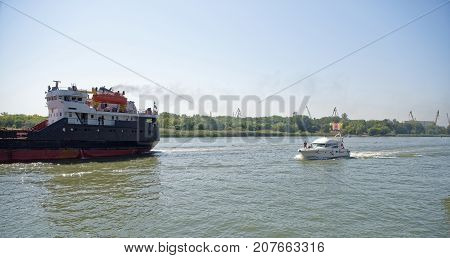 Rostov-on-DonRussia -September 162017:Yacht with passengers on board and the ship sails along the river Don