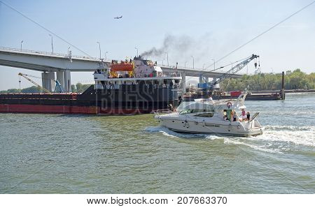 Rostov-on-DonRussia -September 162017: Passage of ships along the Don River under a new bridge