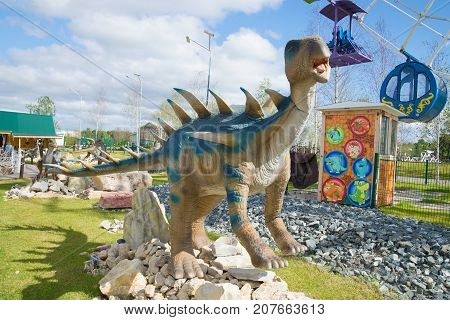 KIROV, RUSSIA - AUGUST 30, 2017: Sculpture of a centrosaurus on a sunny august day.