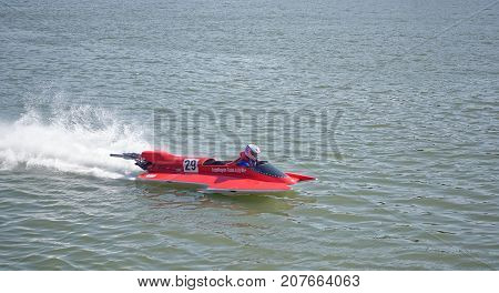 Rostov-on-Don Russia- September 162017: Racer on the speed boat rushes in front of the audience at the celebration of the day of the city of Rostov-on-Don