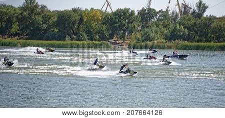 Rostov-on-Don Russia- September 162017: Athletes on water motorcycles perform in front of the audience at the celebration of the day of the city of Rostov-on-Don