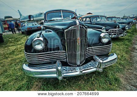 KYIV, UKRAINE - OCTOBER 2017: Soviet luxury vintage car black ZIS-110 is presented at the