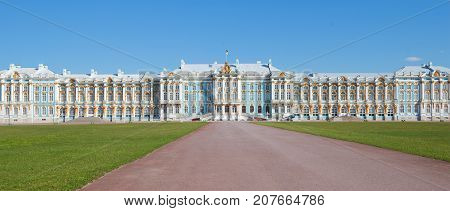 Panorama of a facade of Catherine Palace in the sunny May afternoon. Tsarskoye Selo, St. Petersburg