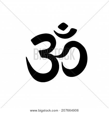 Aum Om Ohm symbol, lettering black color on white background. Vector illustration Indian philosophy icon
