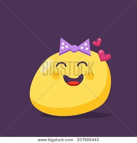 Enamored emoji character. Vector icon.  flat style.