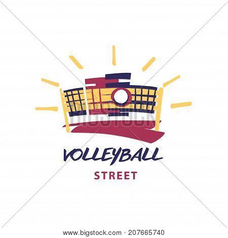 Volleyball Team, School, Club Template Logo. Vector Sketch Illus