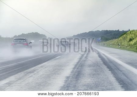 wet and rainy road scenery on a highway in Southern Germany