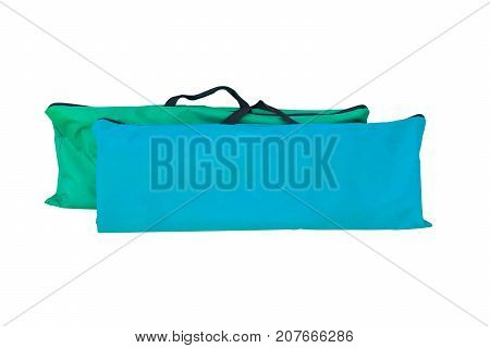 Bag green for cpr assist patient in emergency rescue situation isolated on white background and clipping path