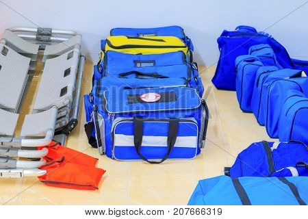 Bag First aid kit blue for assist patient in emergency rescue situation