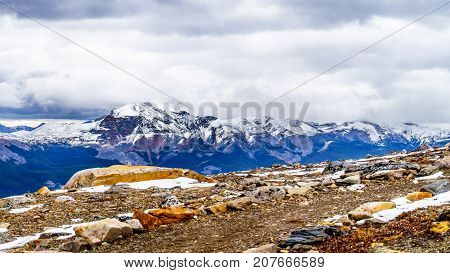 The Rocky Mountains viewed from the top of The Whistlers mountain in Jasper National Park in the Canadian Rockies on cold September day